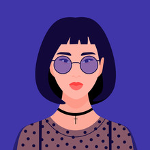 Portrait Of A Fashionable Girl. Young Asian Woman. Avatar Students. Vector Flat Illustration
