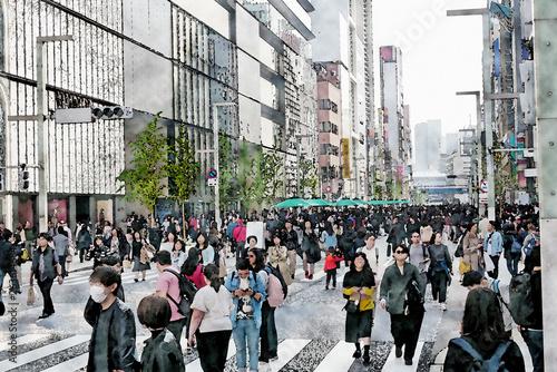 Foto auf AluDibond Bahnhof 都市の大通り,水彩
