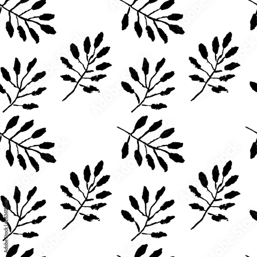 Poster Floral black and white Leaves seamless pattern. Grunge vector dry brush illustration.