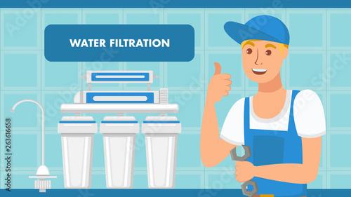 Cuadros en Lienzo  Water Filtration System Installation Web Banner