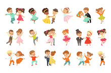 Couple Of Little Kids Dancing Set, Modern And Classical Dance Performed By Children Vector Illustrations On A White Background