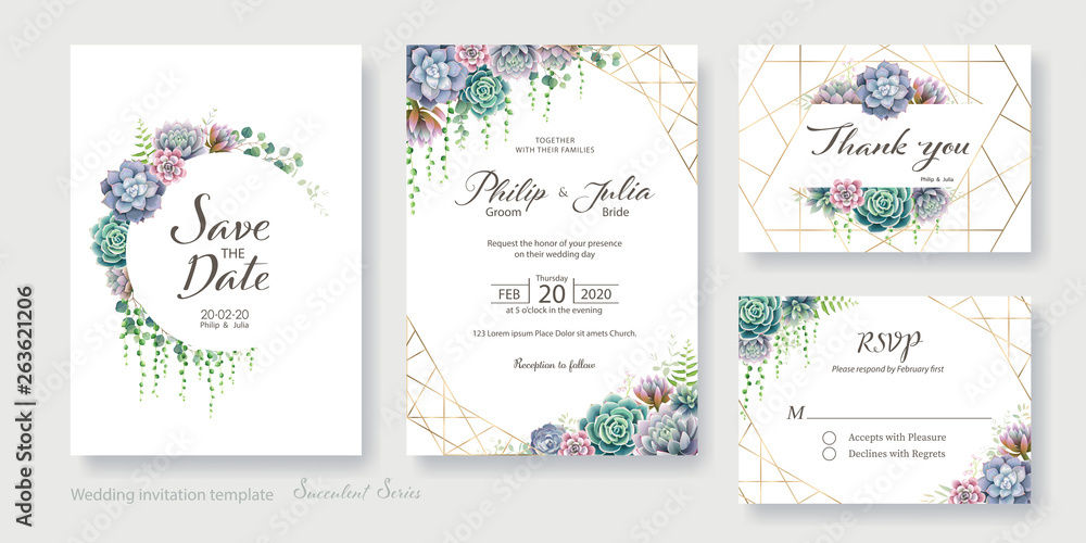 Fototapeta Greenery, succulent and branches Wedding Invitation card, save the date, thank you, rsvp template. Vector.