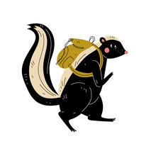 Skunk Walking With Backpack, A...