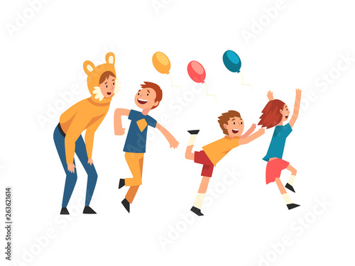 Fotomural  Happy Children Having Fun with Animator at Birthday Party, Entertainer in Festiv