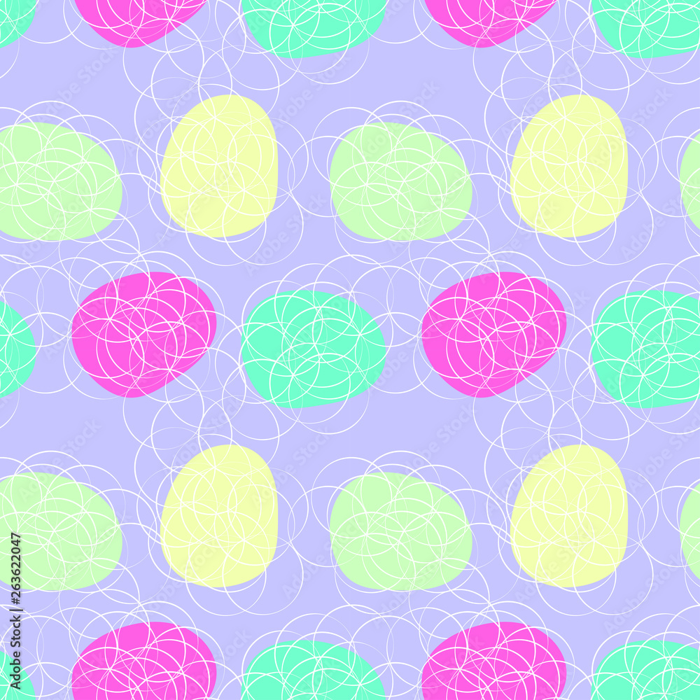 Minimalistic pattern in Scandinavian style. Seamless illustration with color circles and bubbles. Abstract flowers on colored background.