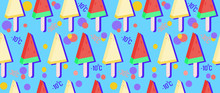 Fruit Ice Cream Made Of Watermelon And Melon Seamless Pattern. Ice Cream On Stick For Summer Background. Cold And Hot Temperatures For Comfort. Horizontal Background For Packaging Design, Advertising