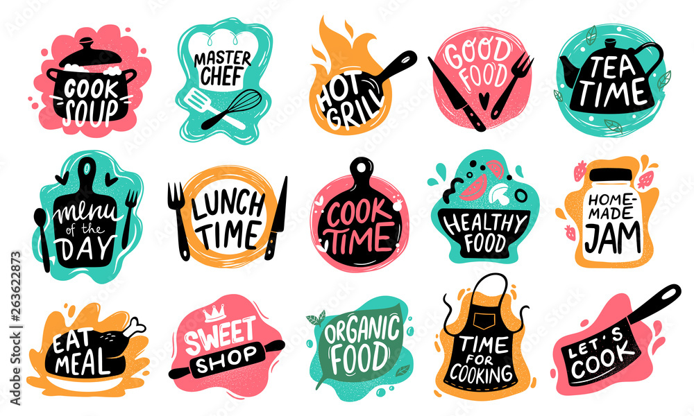 Fototapeta Cooking food lettering. Kitchen badge logos, baking foods typography and cook labels vector set