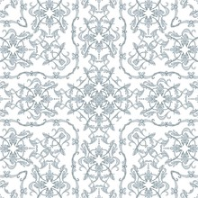 Seamless Baroque Pattern With Decorative Silver Scrolls