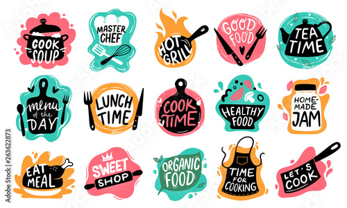 Fototapeta Cooking food lettering. Kitchen badge logos, baking foods typography and cook labels vector set obraz