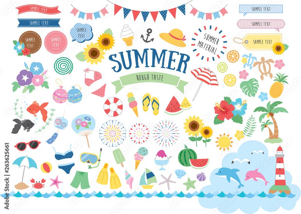 Fototapety, obrazy: Summer illustration set