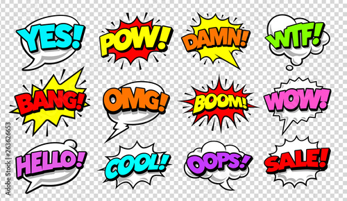 Poster de jardin Pop Art Comic Speech Bubbles Pop Art Vector Set