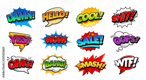 Photo sur Aluminium Pop Art Comic Speech Bubbles Pop Art Vector Set