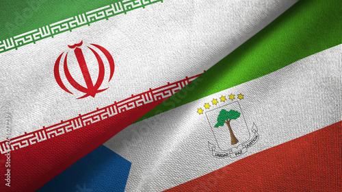 Pinturas sobre lienzo  Iran and Equatorial Guinea two flags textile cloth, fabric texture