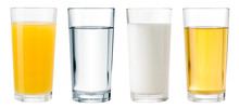 Juice, Water And Milk Glasses ...
