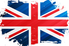 Flag Of The United Kingdom Brush Stroke Background. National Flag Of The United Kingdom. Union Jack. Vector Illustration.