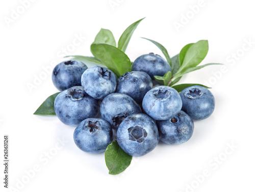 fresh blueberries isolated on white background - 263631261