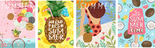 Hello Summer! Cute Vector Illustration For Summer Backgrounds, Cards, Posters And Flyers. Freehand Drawings Of A Girl On The Beach, Ice Cream, A Cocktail In Pineapple And A Bicycle With Balloons
