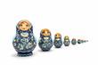 Leinwandbild Motiv Matryoshka Dolls isolated on a white background. Russian Wooden Doll Souvenir.