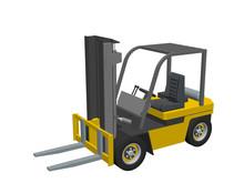 Forklift Truck. Isolated On White. 3d Vector Illustration.