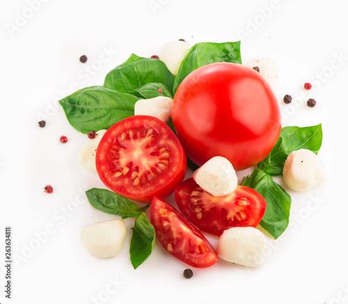 Canvas Prints Fresh vegetables tomato basil and mozzarella on a white background