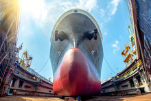 Bulk Head Of The Commercial Ship In Floating Dry Dock For Painting , Repairing, Recondition, Sand Blasting Of Overhaul, Ship Sitting On Supporter Bottom Layer Of Dry Dock Terminal