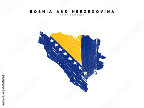 Bosnia herzegovina detailed map with flag of country Canvas Print