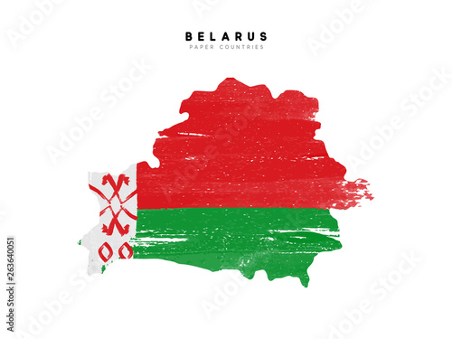 Fototapeta Belarus detailed map with flag of country