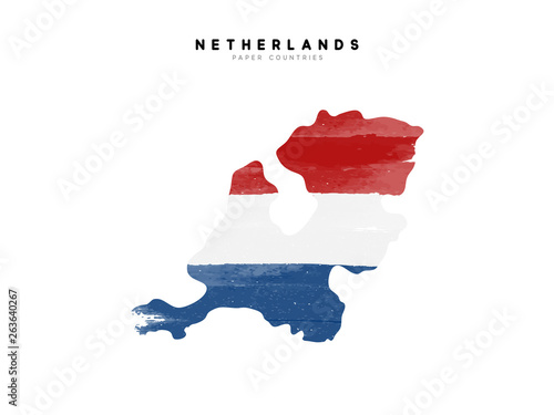 Netherlands detailed map with flag of country Wallpaper Mural