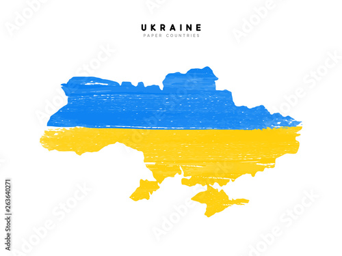 Ukraine detailed map with flag of country Canvas Print