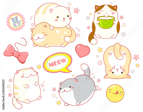 Photo Set of cute cats in kawaii style