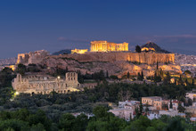 Night View Of The Acropolis Of Athens, Greece, With The Parthenon Temple