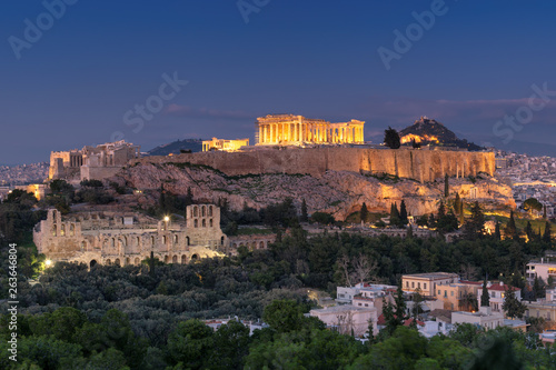 Poster Night view of the Acropolis of Athens, Greece, with the Parthenon Temple