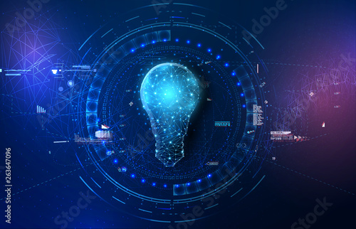 Obraz Abstract background with glowing light blue connection dots over digital lightbulb. Future technology, innovation background, creative idea concept. - fototapety do salonu