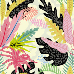 Panel Szklany Drzewa Cartoon tropical leaves flat style