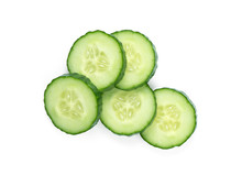 Cucumber Slices Isolated On White Background. Top View