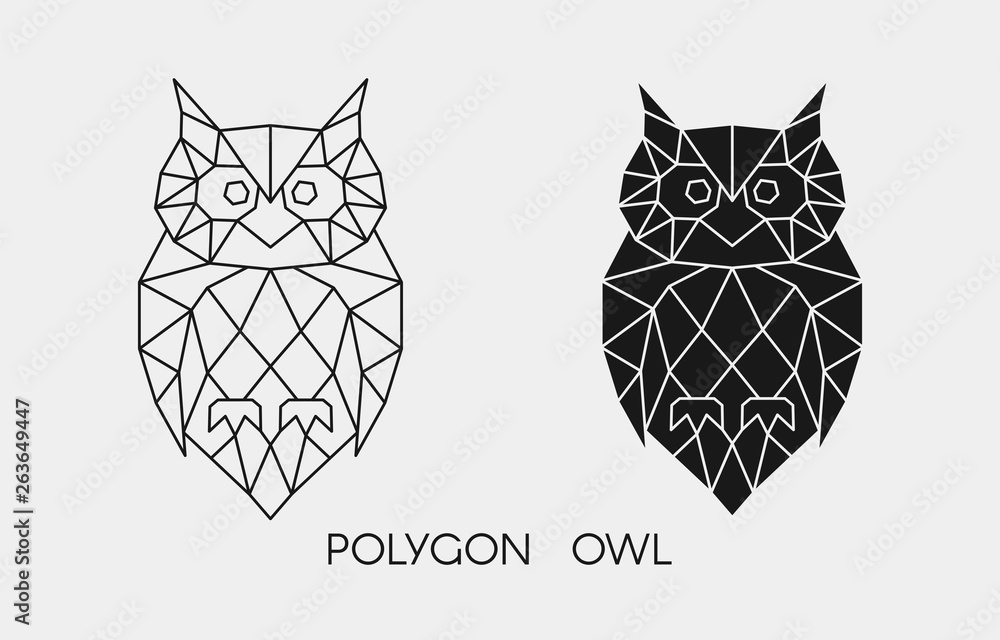 Fototapety, obrazy: Abstract polygonal owl. Geometric linear animal. Vector.