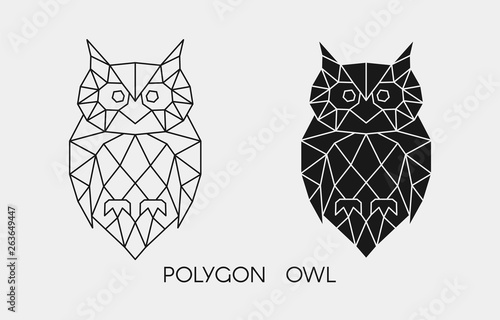 Photo Stands Owls cartoon Abstract polygonal owl. Geometric linear animal. Vector.