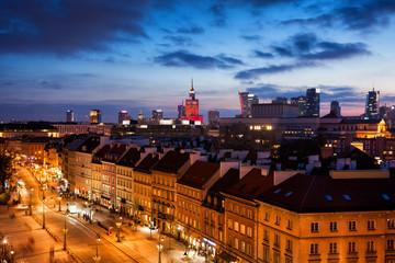 Panel Szklany Podświetlane Warszawa Warsaw Cityscape