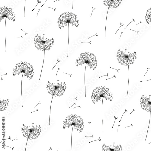 Floral pattern of dandelions. Seamless simple background with flying dandelion