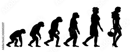 Photo Painted theory of evolution of woman