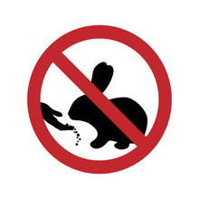 Vector Silhouette Of Do Not Feed The Rabbit Ban Mark On A White Background. Symbol Of Animal,warning,farm.