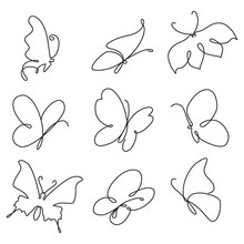 Butterfly Continuous Line Drawing Set