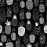 Vector Seamless Pattern with Pineapples. Drawing seamless background with pineapples  - 263655806