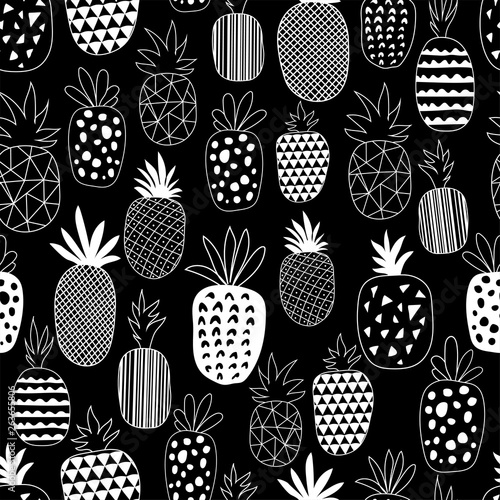 Vector Seamless Pattern with Pineapples. Drawing seamless background with pineapples