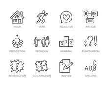 Grammar, Education Flat Line Icons Set. Parts Of Speech Verb, Preposition, Pronoun, Adjective, Interjection Vector Illustrations. Thin Signs For English Learning. Pixel Perfect 64x64 Editable Strokes