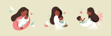 Vector Illustration Of African Black Mother Holding Baby Son Or Daughter In Her Arms. Cartoon Flat Illustration.