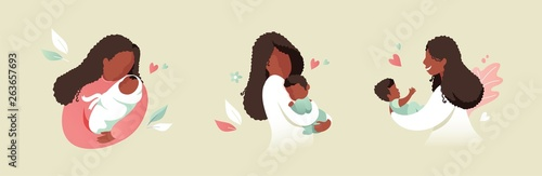 Obraz Vector Illustration Of African Black Mother Holding Baby Son Or Daughter In Her Arms. Cartoon Flat Illustration. - fototapety do salonu