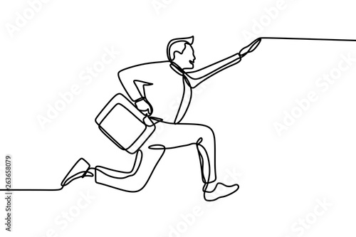 Success worker with office uniform jumping and joyful continuous one line drawing Wallpaper Mural