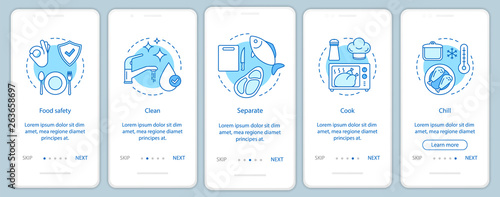 Fotografía  Food safety, hygiene onboarding mobile app page screen vector template