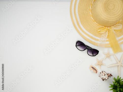 Fototapeta Summer holiday background, Beach accessories obraz na płótnie